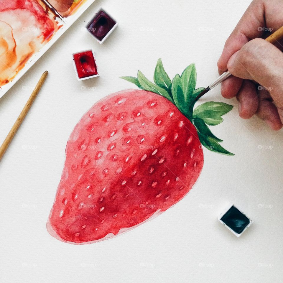 Red color story : Strawberry watercolor painting.