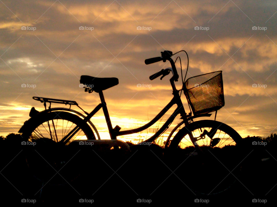 Sunset view with my bicycle