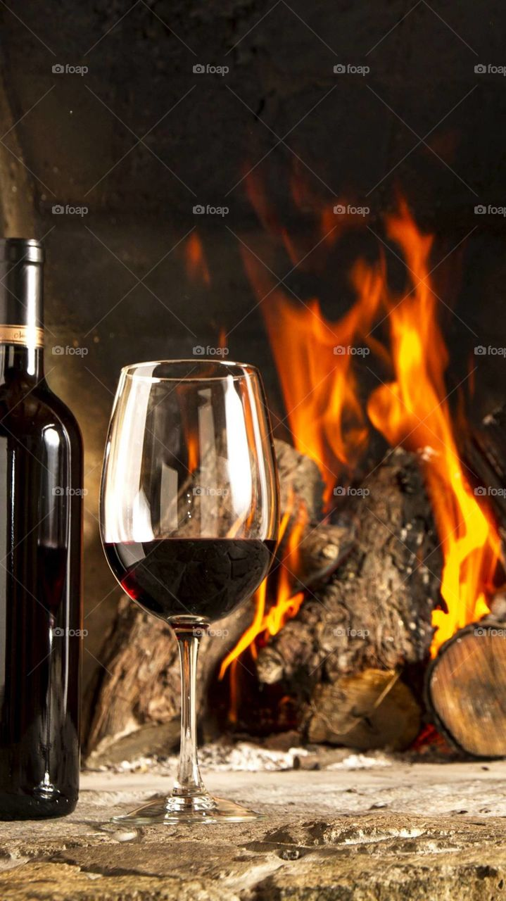 wine with campfire