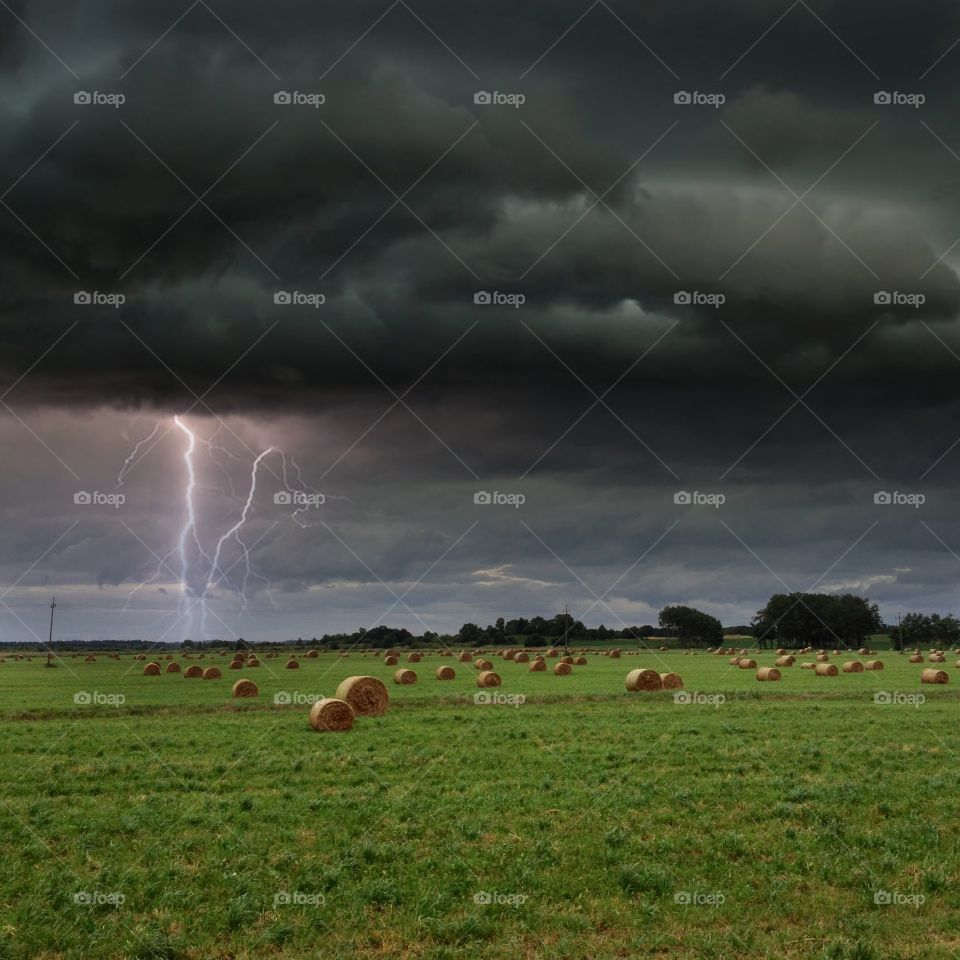 Storm over strawbales