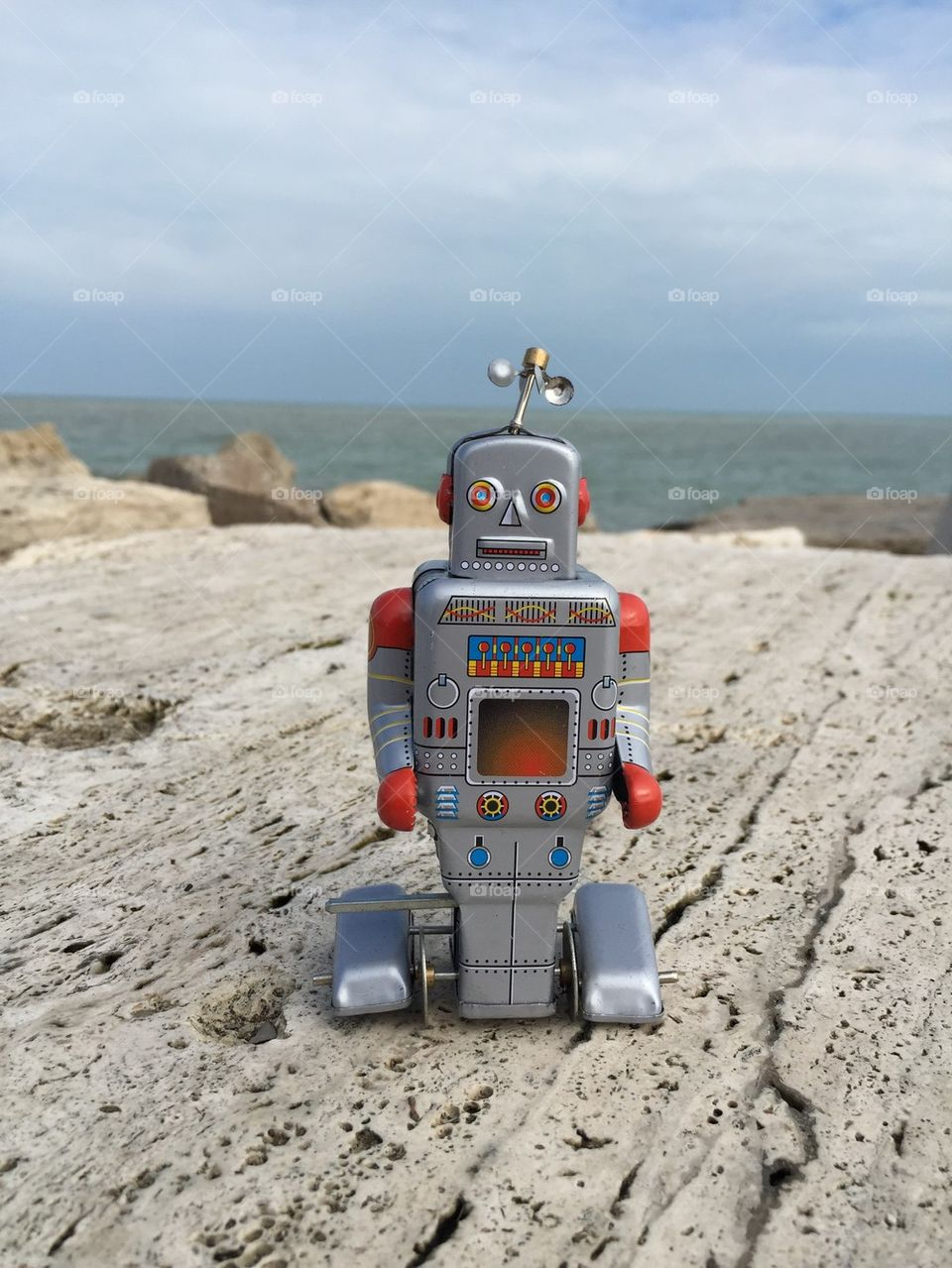 Retro style tin toy robot
