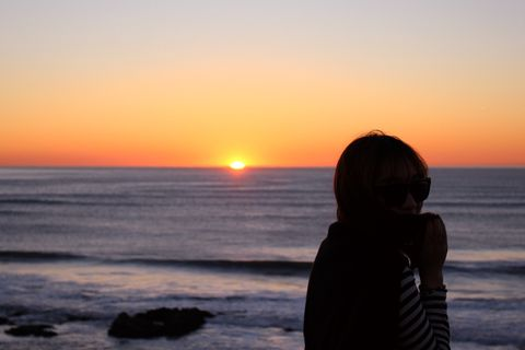 Sunset Sunrise Beautiful Girl Shadow Sea Beach Coast Sun Light