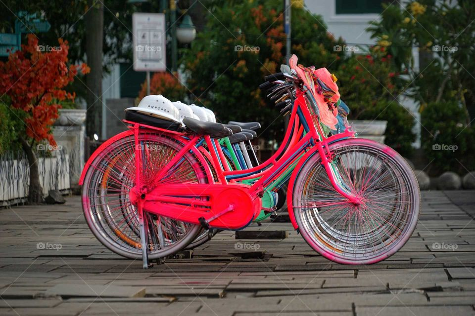Colorful Bicycles found in the old city area of Jakarta