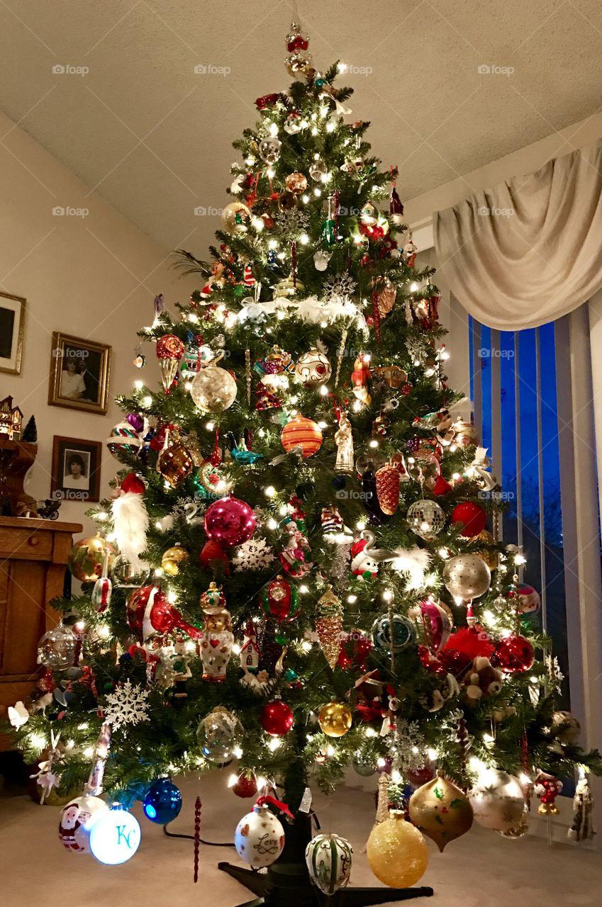 Christmas Tree, Christmas, tree, decoration, decorated, ornaments,ornament, old, antique, lights, light, winter, season, season's greetings, green, needles, room