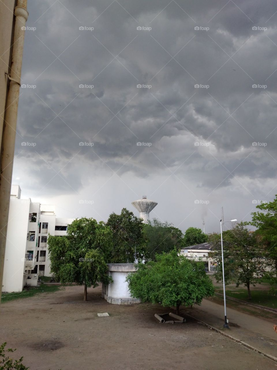 Dark rainy clouds.