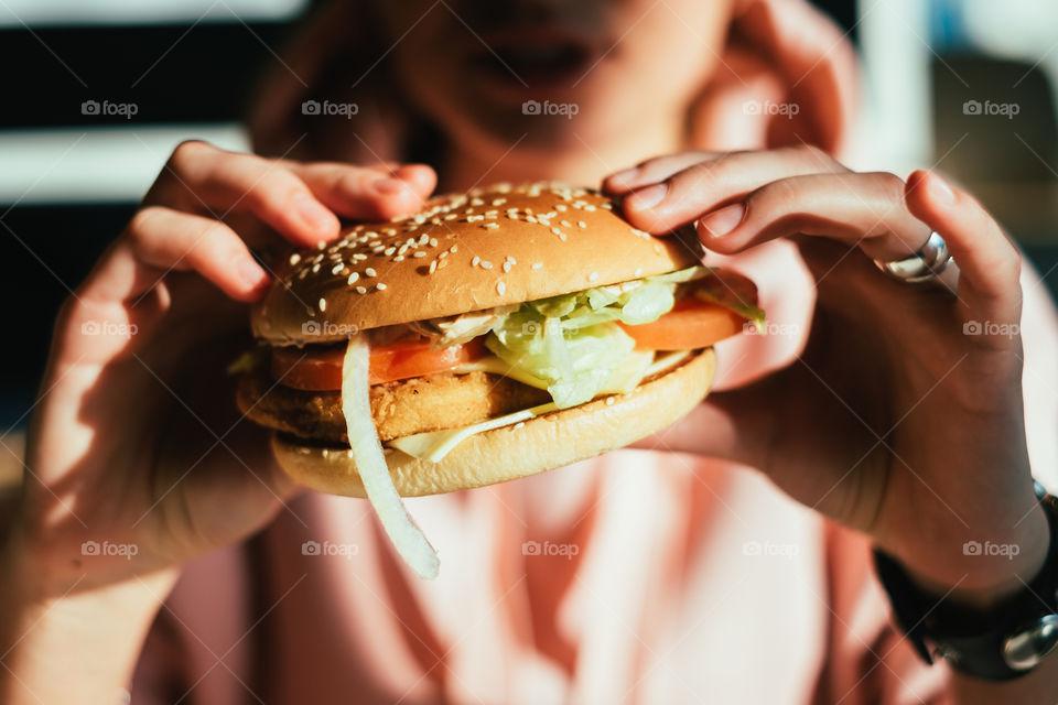Woman holding fresh delicious big tasty