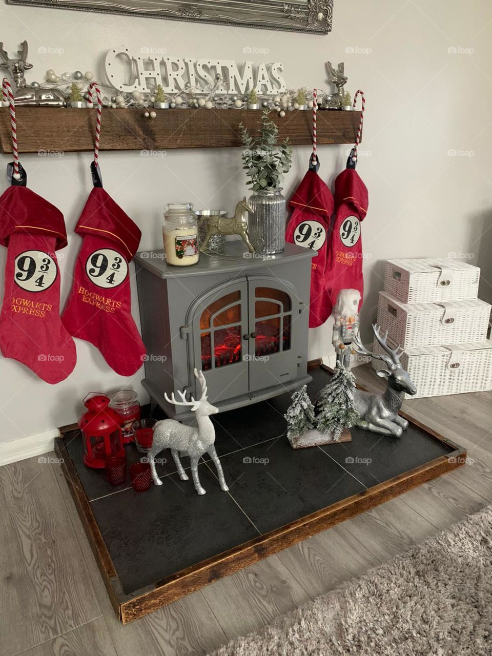 Christmas decorations over the fireplace