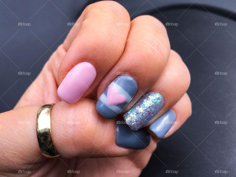 Loving pink and gray nail colors