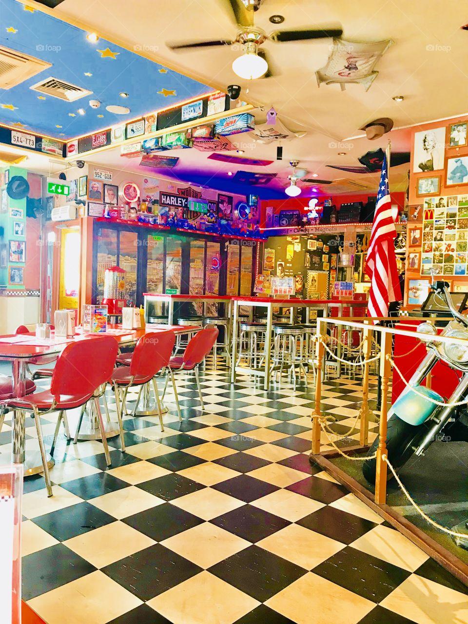 American Diner in Brighton 1950s America style grease United States retro USA vintage
