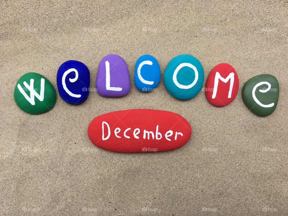 Welcome December on colored stones