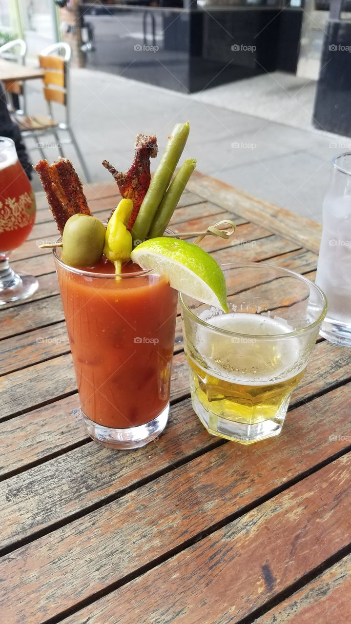 Bloody Mary with Bean, Bacon, Pepper and Beer Sidecar