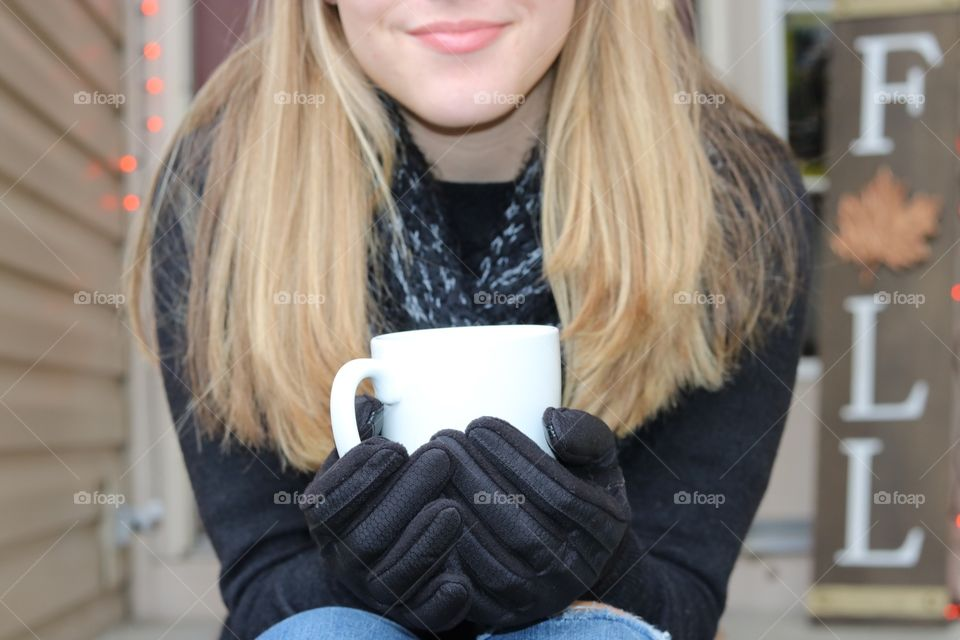Staying cozy with a hot drink