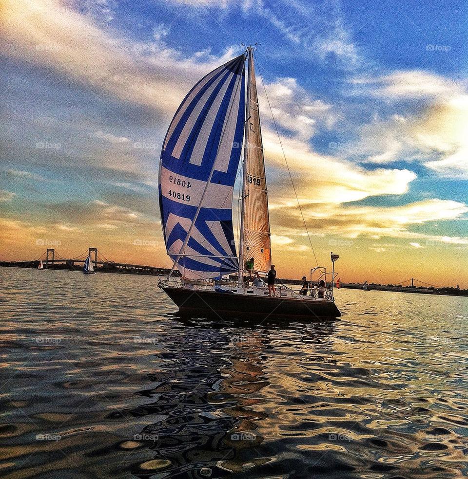 sky clouds sea sailboat by lguarini