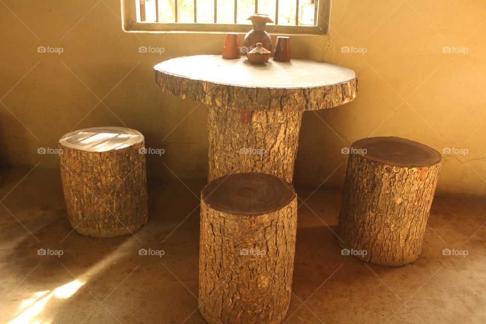 Ancient Handcraft Wooden Dinning Table .