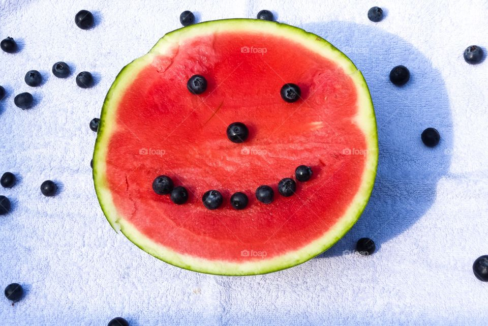 It's summertime Picknick with watermelon and blueberries