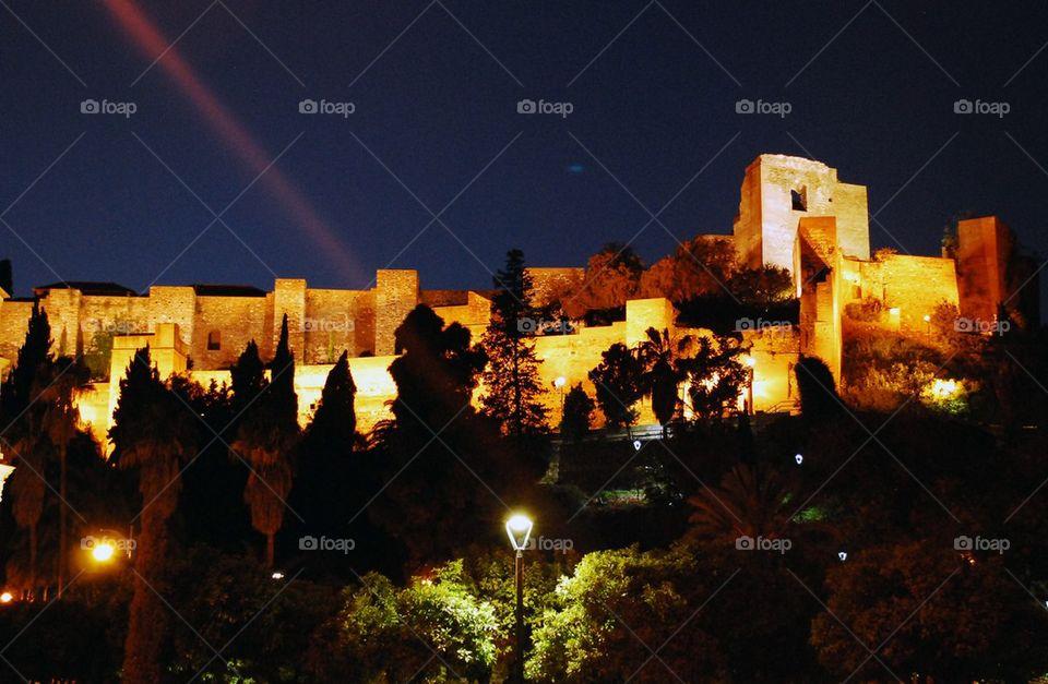 Alcazaba of Malaga at night
