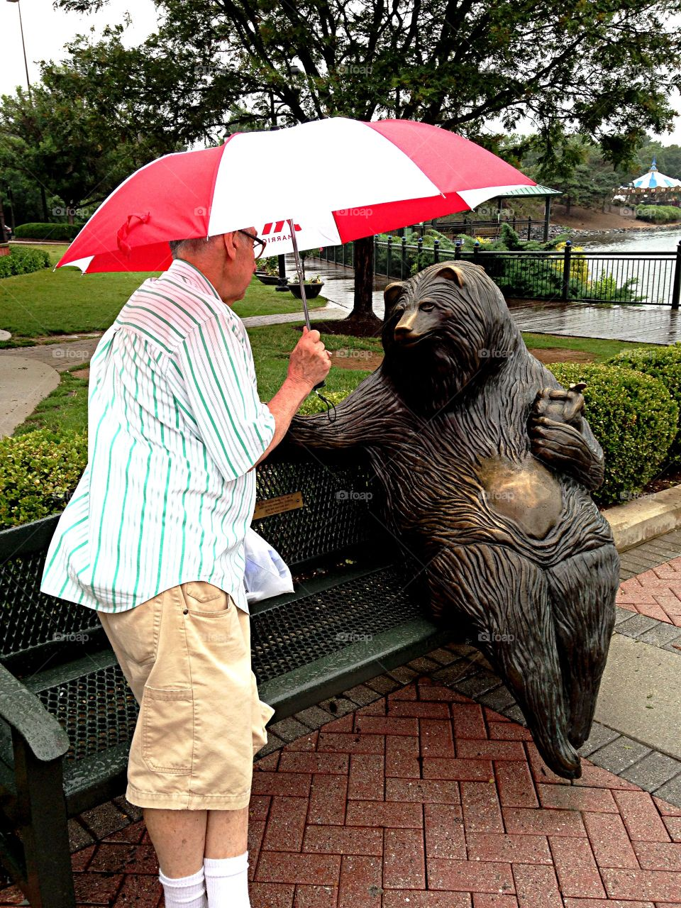 Man and Bear. Man talking to bear sculpture in park on a rainy day