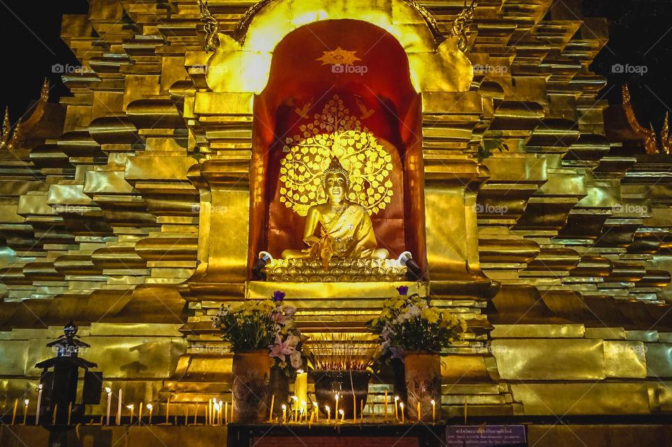 Golden Buddha and stupa in Chiang Mai, Thailand