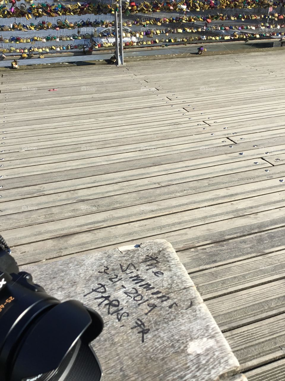 Left my inscription on the bench in Paris, France