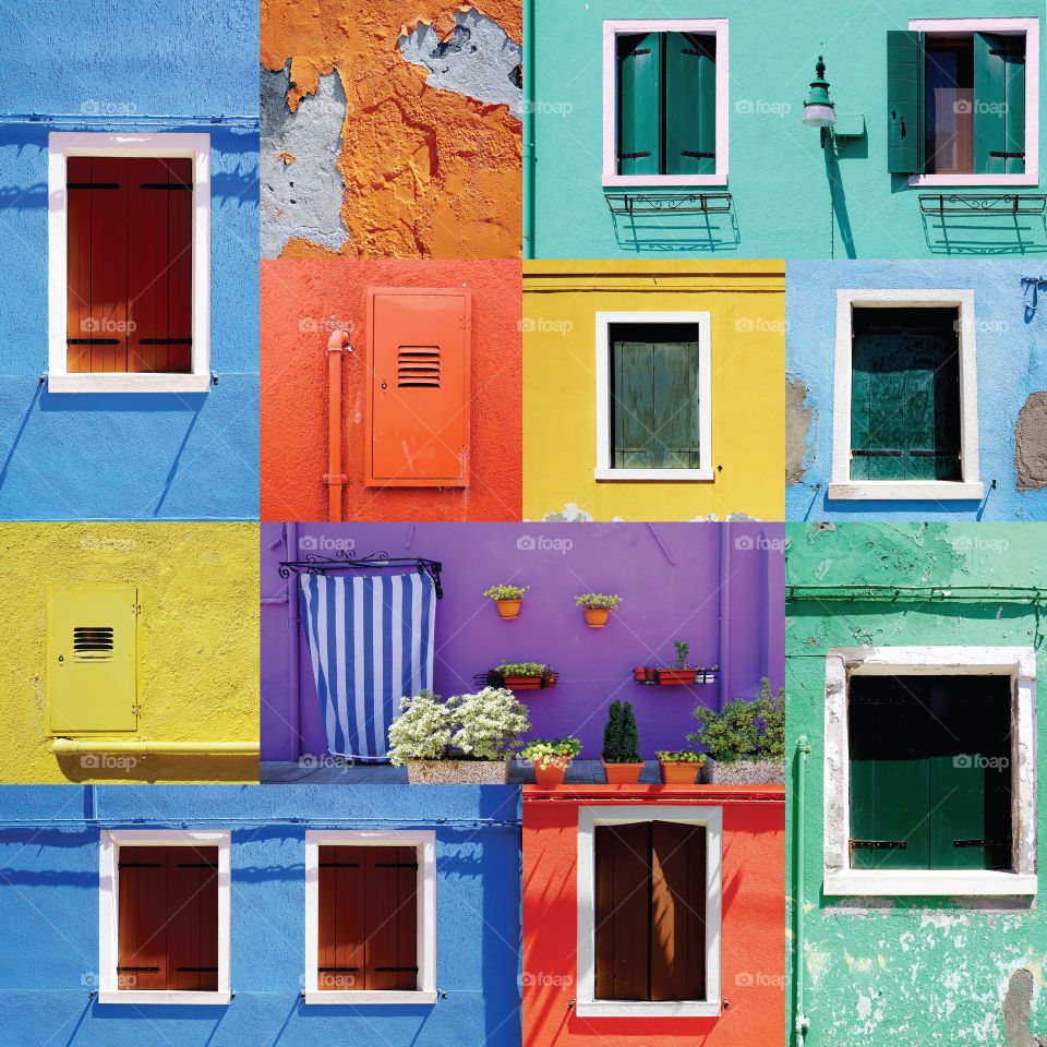 Colorful Windows and Doors variation in Burano, Italy