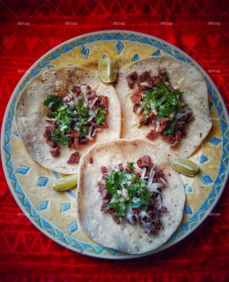 Making traditional Mexican carne asada tacos