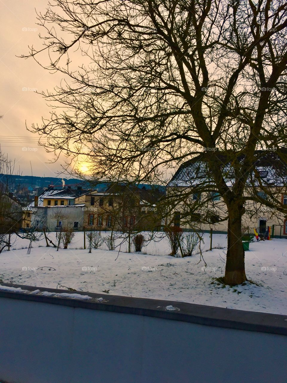 Cold Sunrise. Old and New. Morbach, Germany
