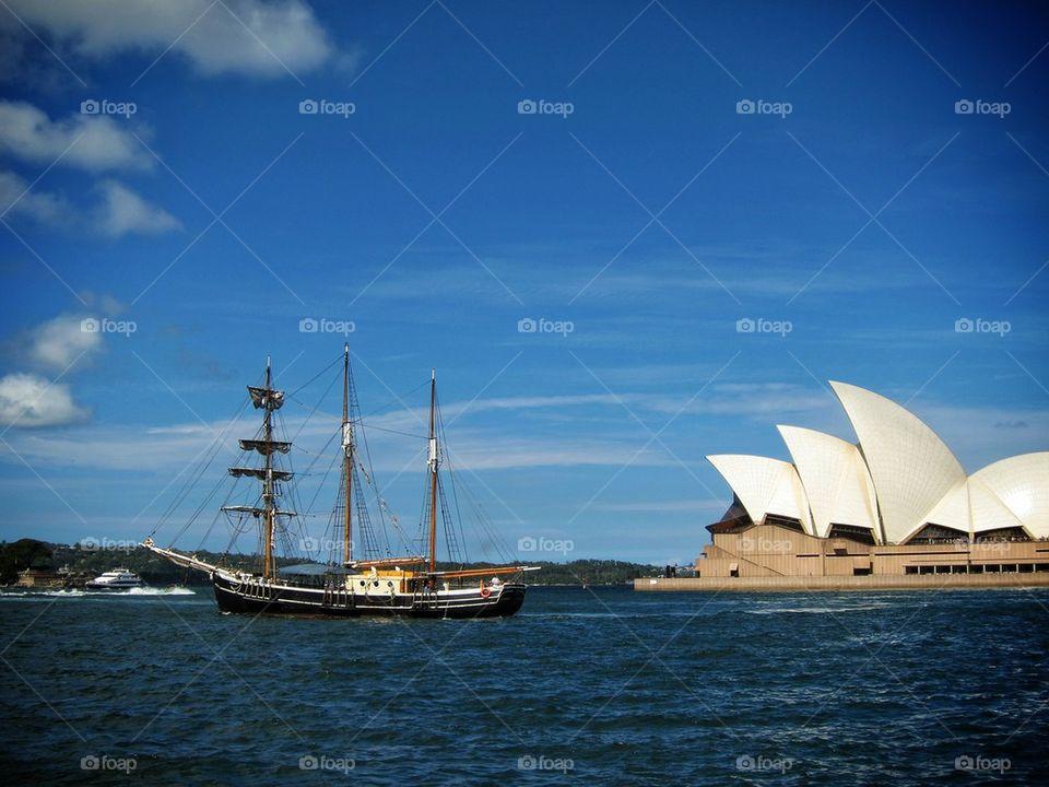 Sydney Opera House and Sail Boat