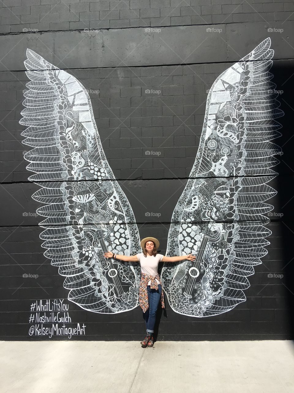 Young woman with butterfly wings