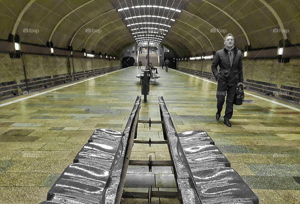 Green subway platform
