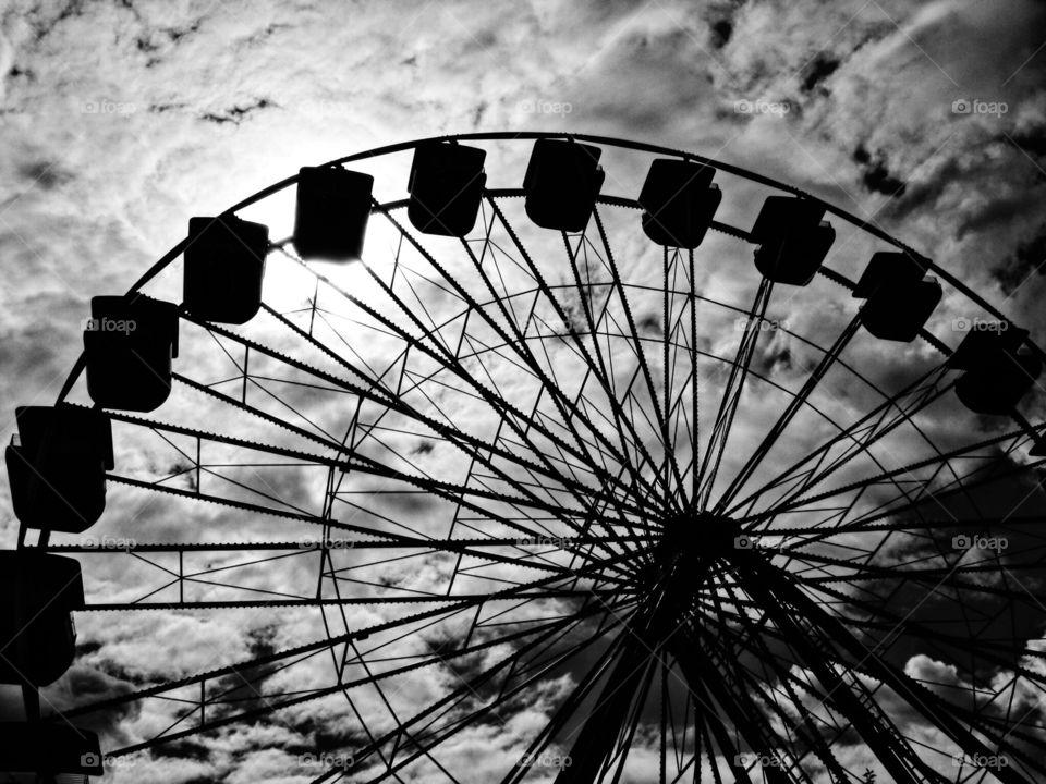 Ferris Wheel At Amusement Park, Monochrome Amusement Park Photography, Abandoned Amusement Park Ferris Wheel