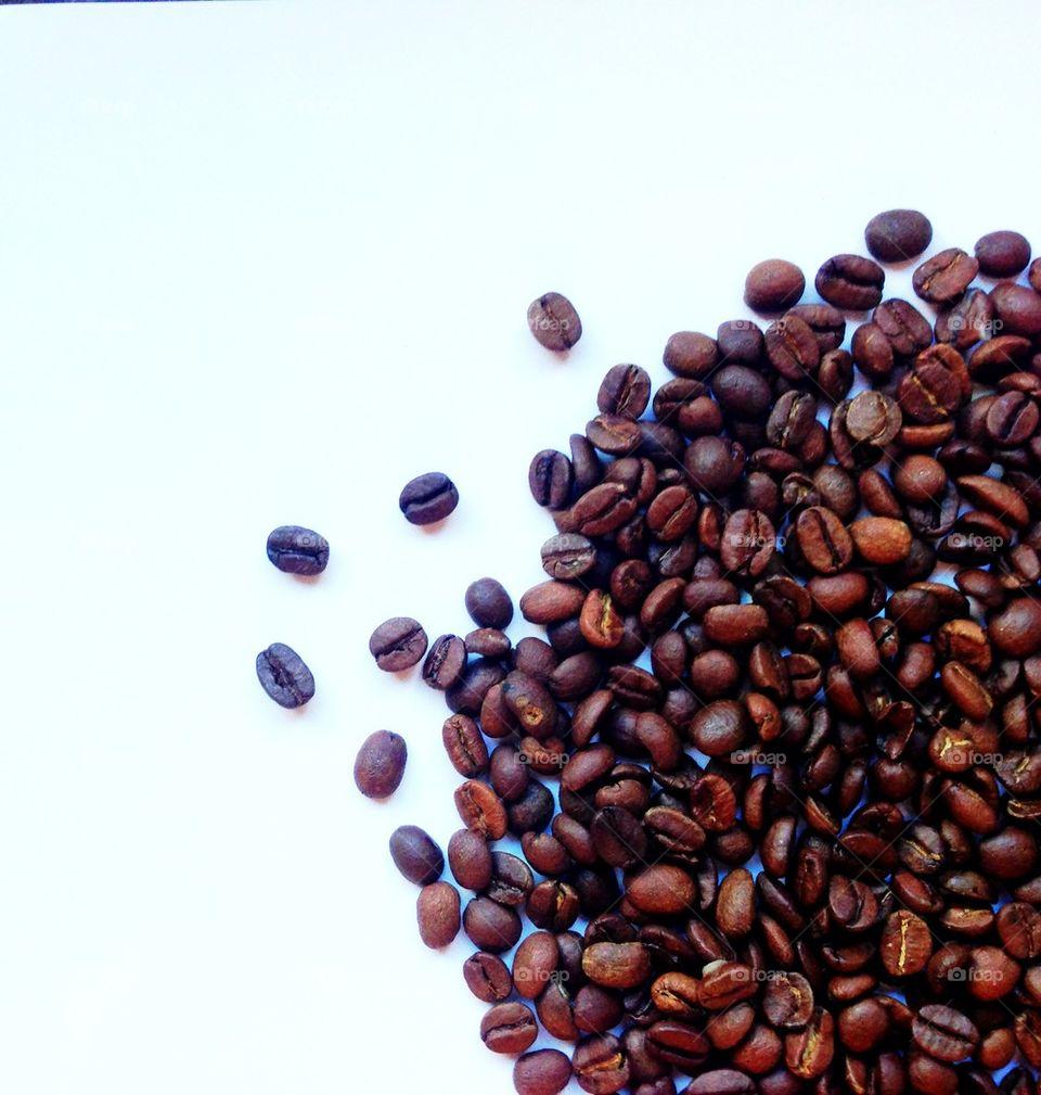 Coffe beans on white