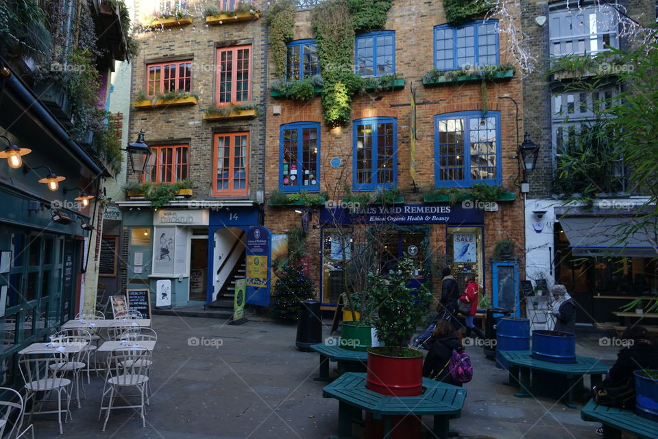 The lovely and colorful small alley of Neal's Yard near Covent Garden, London