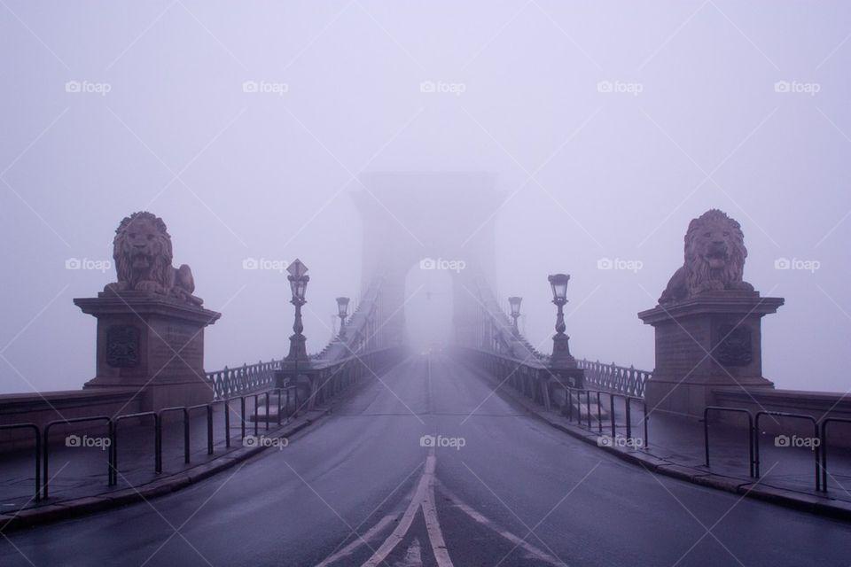 Széchenyi chain bridge in fog