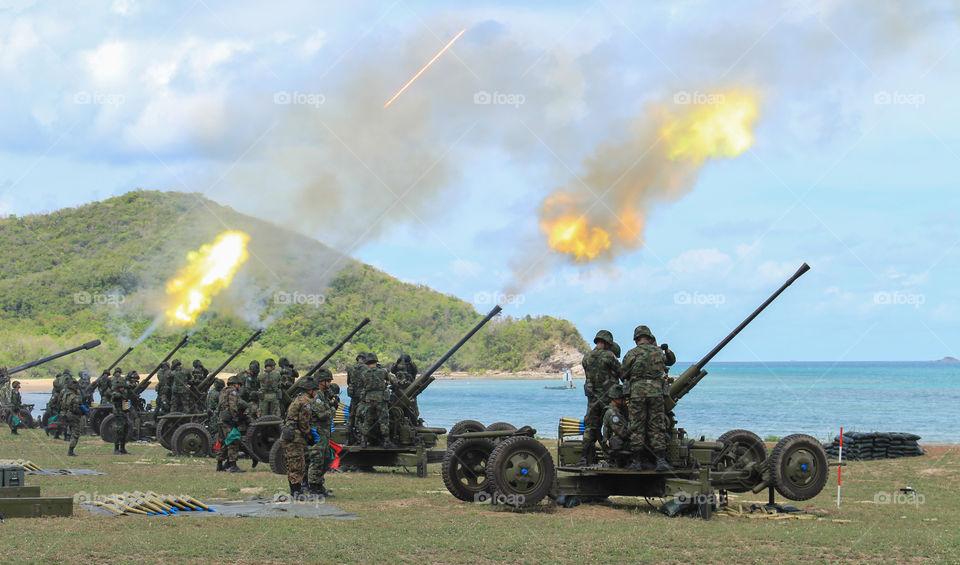 Military artillery guns.
