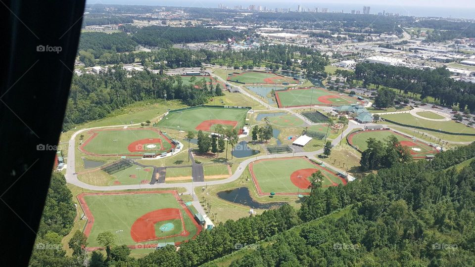 Baseball fields from a high view
