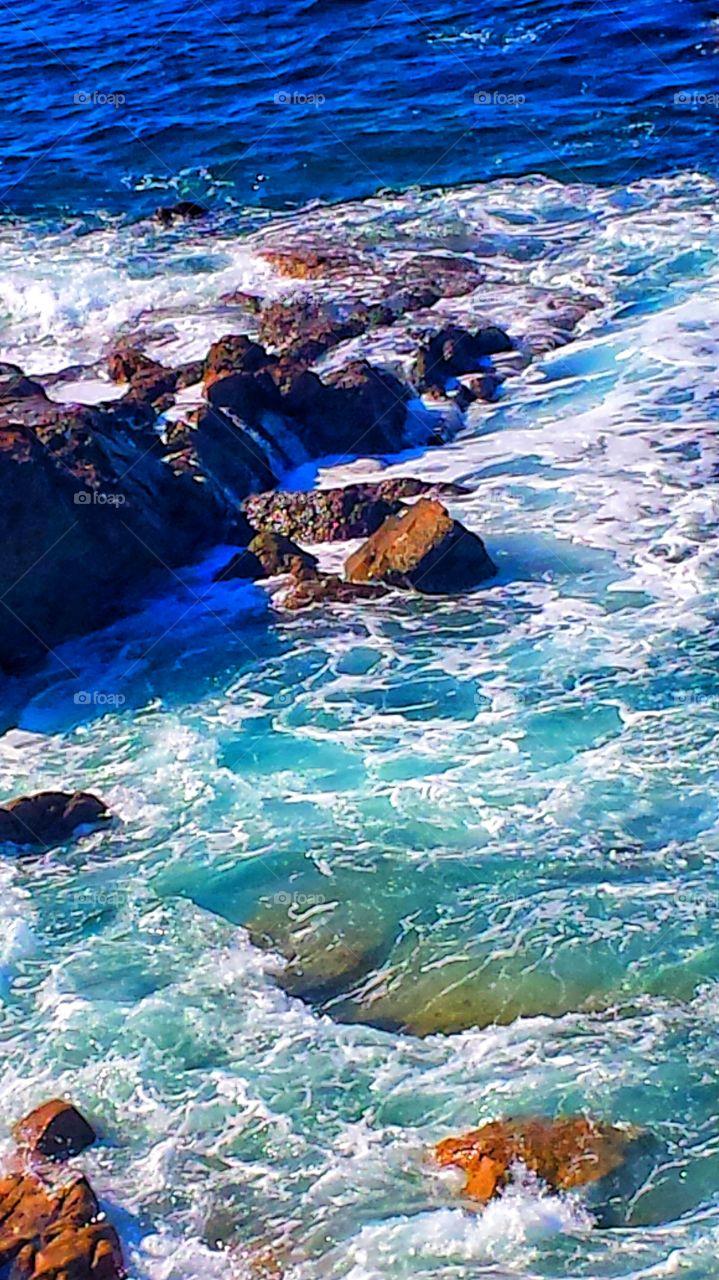 High Tide @Hiesler Park. Crashing waves @ red rock cliffs in Laguna Beach @ Hiesler Park.