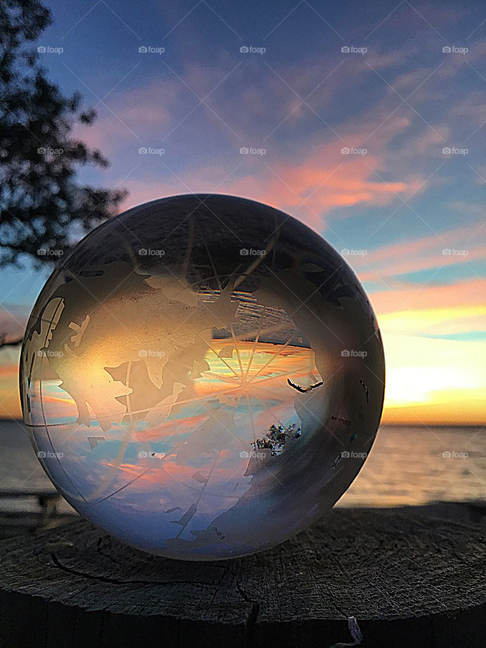 Sunset Extravaganza - sunset through the crystal ball, a refraction of light