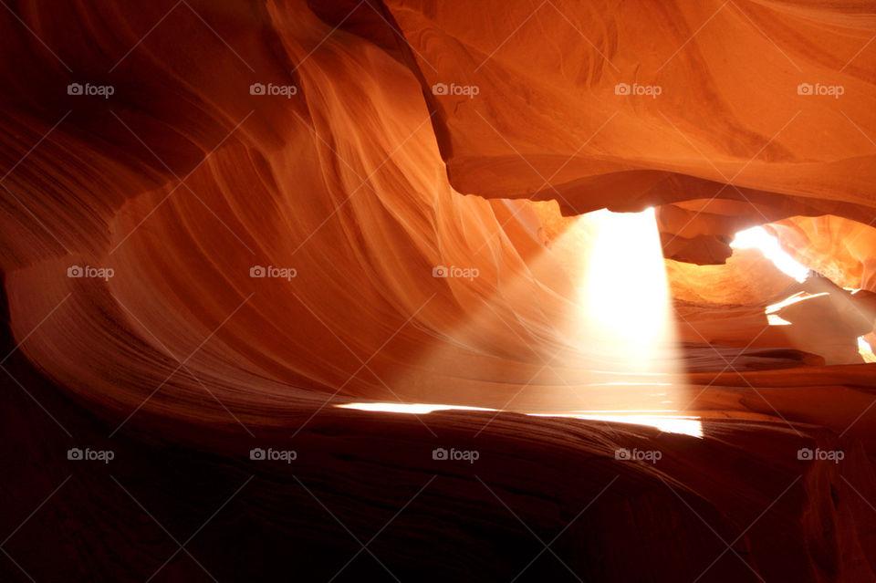 Amazing light beam in antelope canyon
