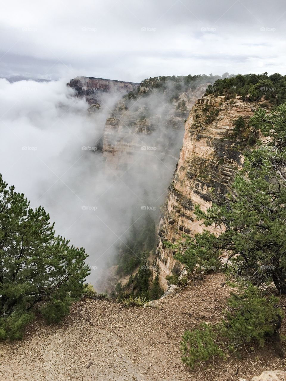 Clouds at Yavapai Point. Clouds rolling in at Yavapai Point, Grand Canyon