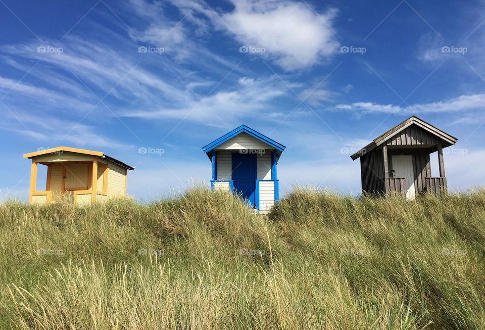 Beach huts in Skanör, Sweden.