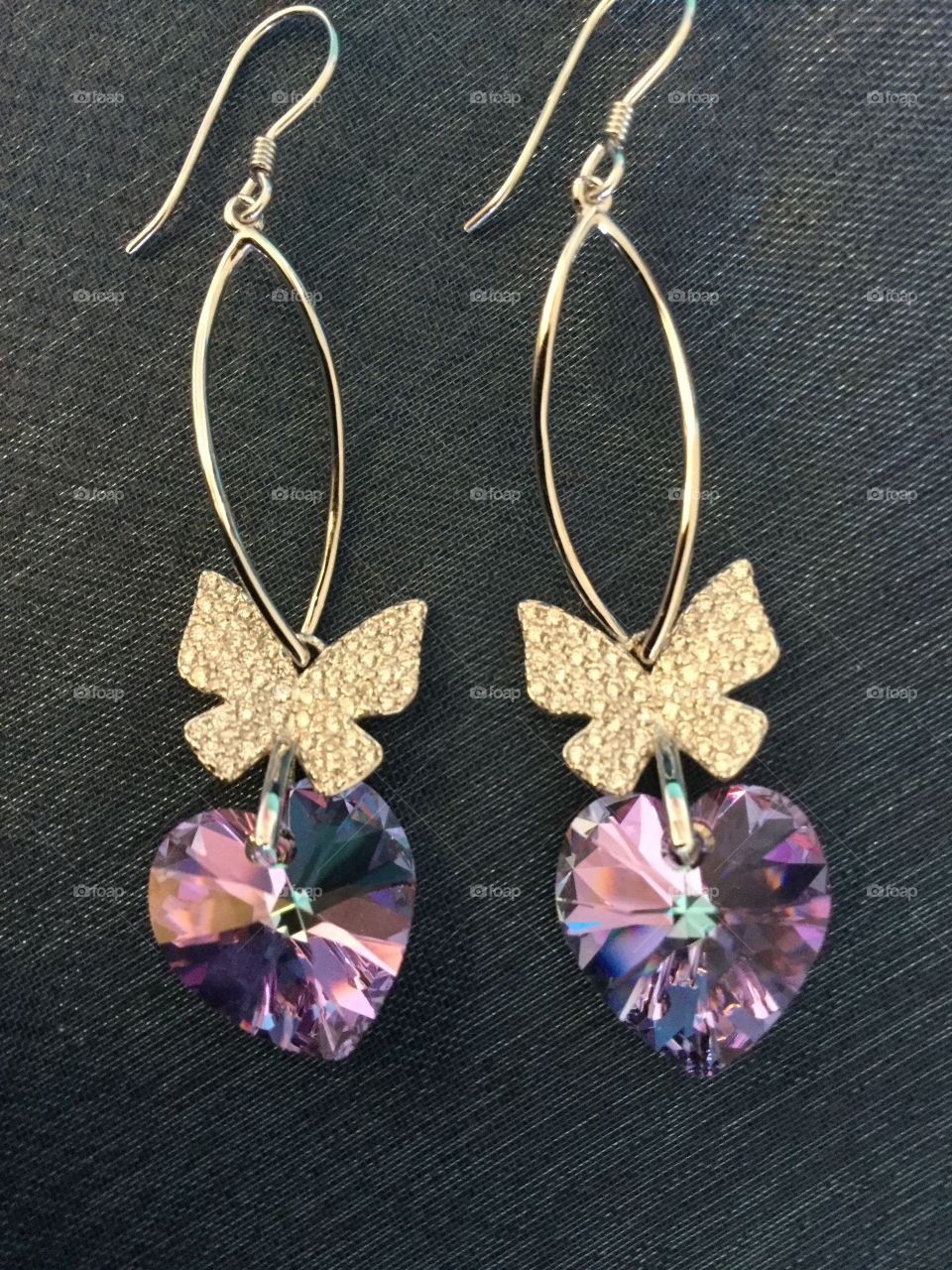Crystal hearts and Silver butterfly earrings