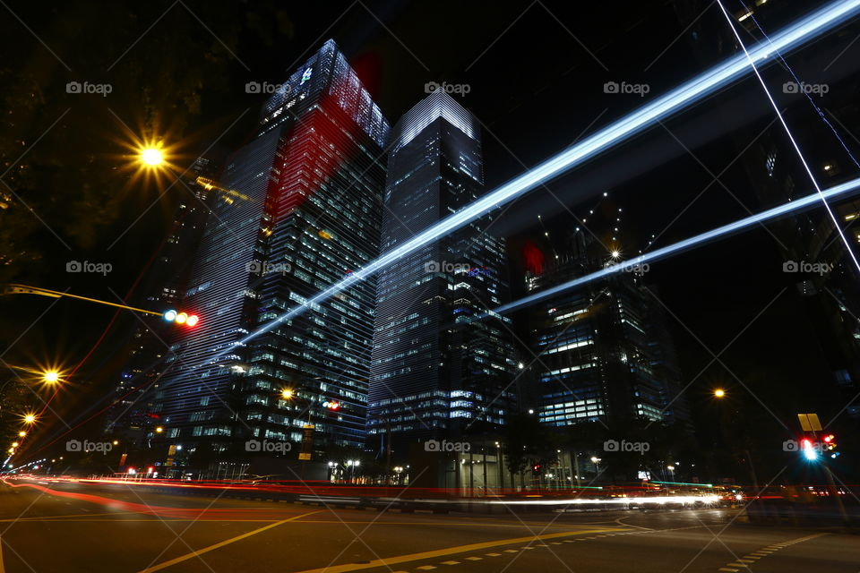 lights at singapore city busy business district at night