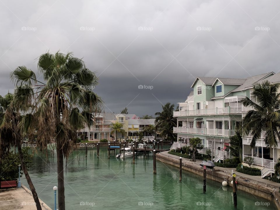 Storm coming over New Providence Island, The Bahamas.