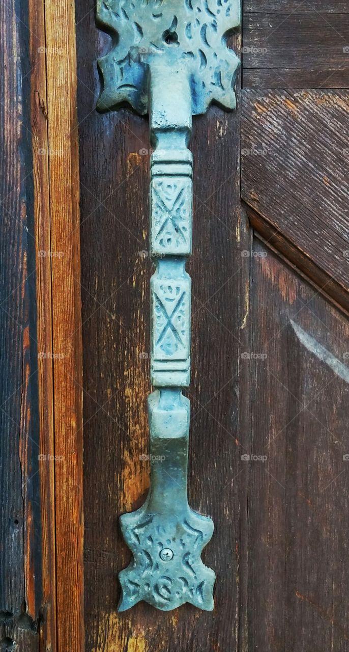 antique door handle. from a 1950s cabin