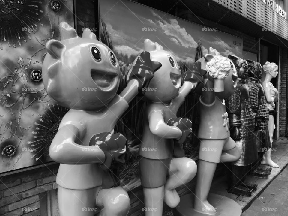 Crazy Dragons with Terracotta Warriors outside Store at Dafen Oil Painting Village - Shenzhen, China