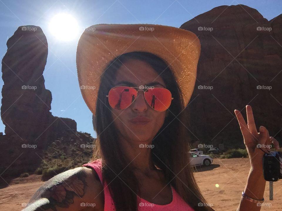 A beautiful girl selfie in the desert