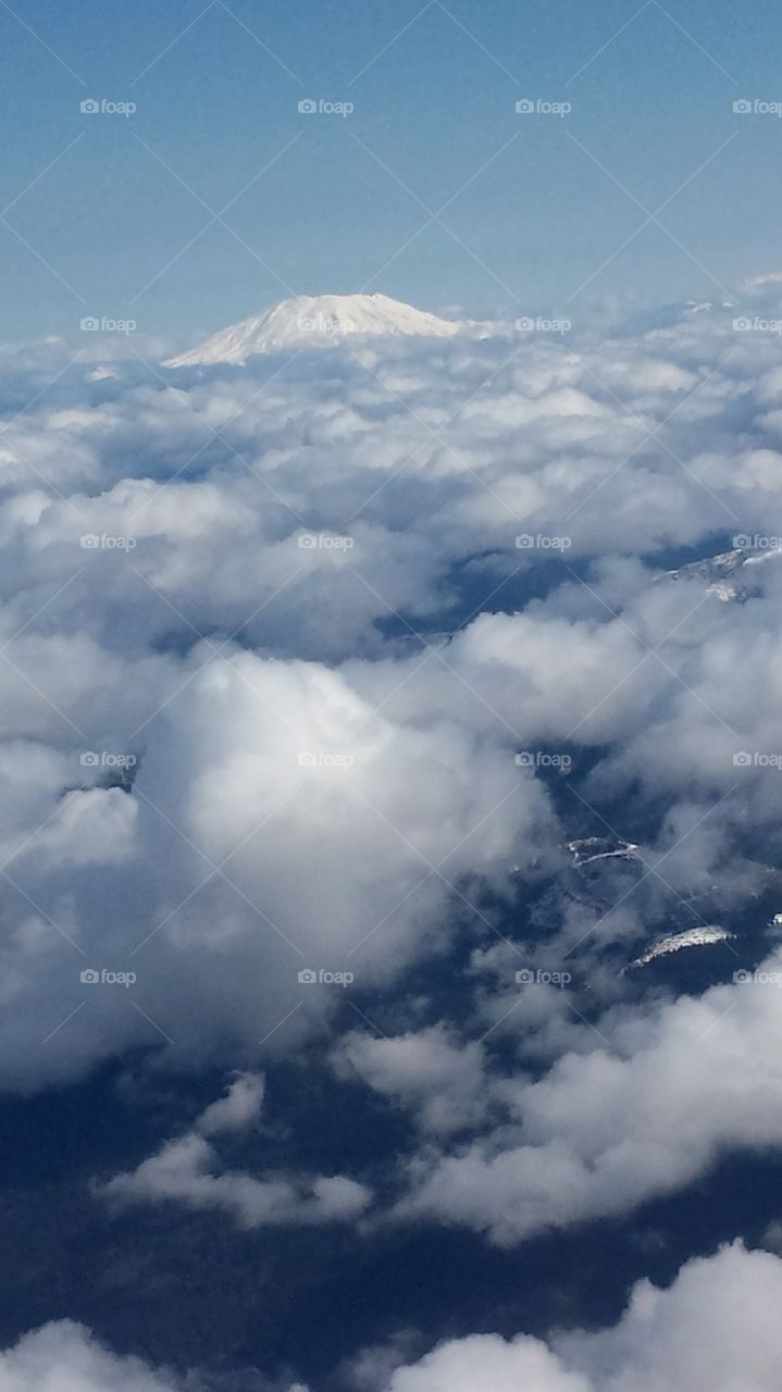 Mt Saint Helens. airborne shot with cloud cover