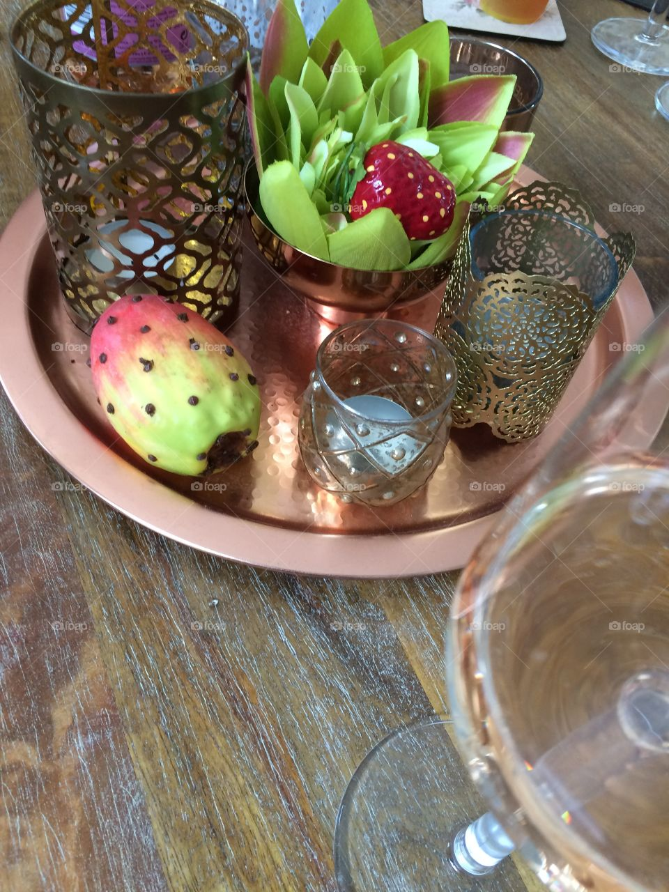 Prickly cactus fruit with candle