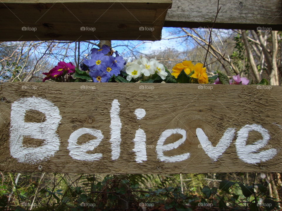 Believe text of wooden board