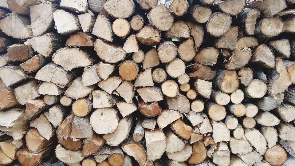 Wood lumber stacked pile